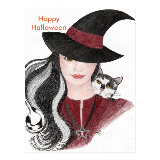 Witch and Cat Postcard