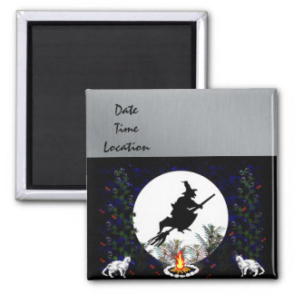 Witch and Cats Square Magnet