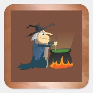 Witch and Cauldron Square Sticker