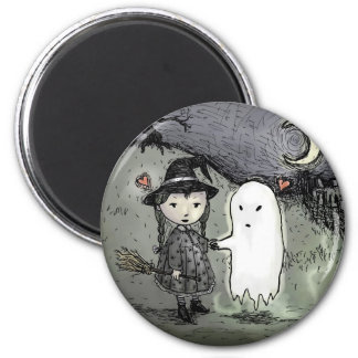 Witch and Ghost in Love 6 Cm Round Magnet