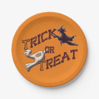 Witch and Ghost Trick or Treat Halloween Plates