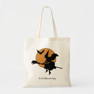 Witch and Halloween Moon Trick or Treat Bag