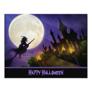 "Witch and Haunted House Halloween Invitation 4.25"" X 5.5"" Invitation Card"