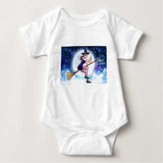 Witch and Magic Wand Halloween Cartoon Character Baby Bodysuit