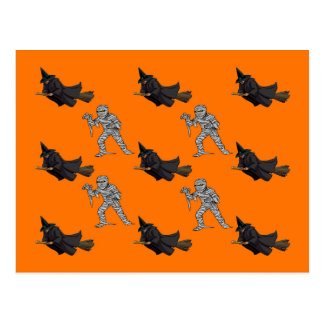 Witch and Mummy Pattern Post Cards