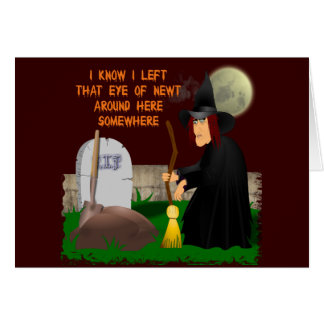 Witch and Newt Halloween Greeting Card