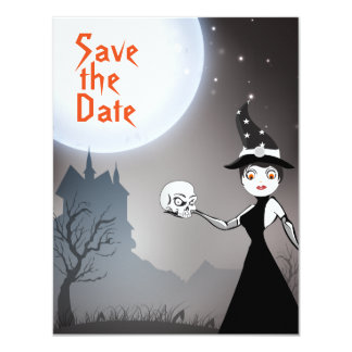 Witch and Skull Couple Save the Date Wedding Card