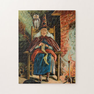 Witch at Fireplace Jigsaw Puzzle