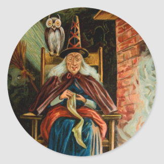 Witch at Fireplace Round Sticker