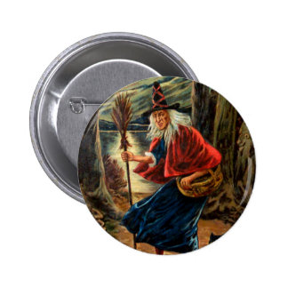 Witch at Halloween Night Button