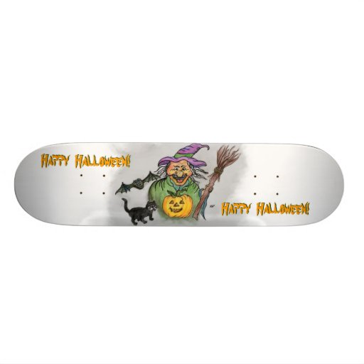 Witch, Bat and Cat, Happy Halloween! Skateboards