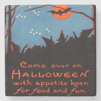 Witch Bat Full Moon Night Witching Hour Stone Coaster