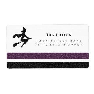 Witch Black and purple stripes address label
