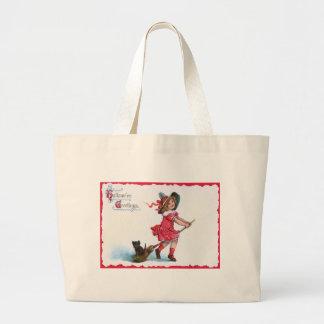 Witch Black Cat Broom Jumbo Tote Bag