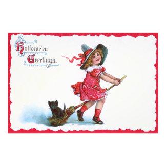 Witch Black Cat Broom Photo Print