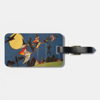 Witch Black Cat Flying Moon Crow Luggage Tag
