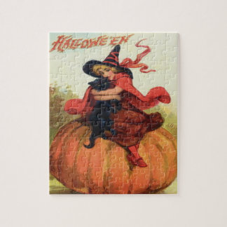 Witch & Black Cat Jigsaw Puzzle