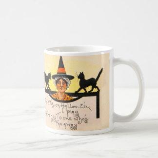 Witch Black Cat Vintage Halloween Basic White Mug