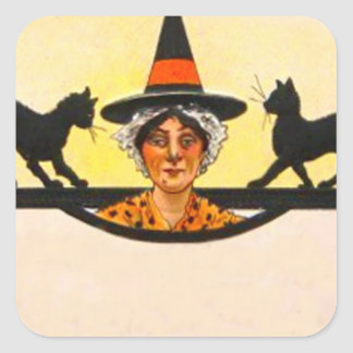Witch Black Cat Vintage Halloween Square Sticker