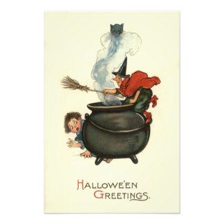 Witch Broom Black Cat Cauldron Smoke Photo