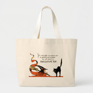 Witch Broom Black Cat Jumbo Tote Bag