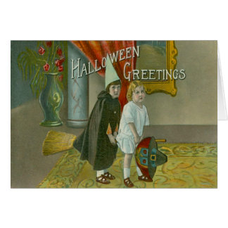 Witch Broom Children Costume Trick Or Treat Greeting Card