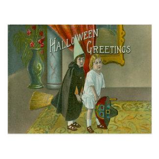 Witch Broom Children Costume Trick Or Treat Postcard