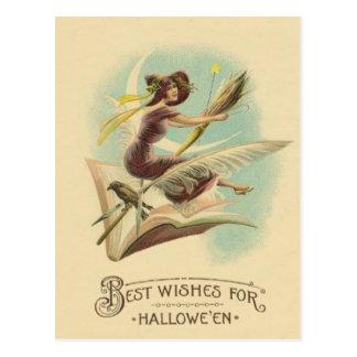 Witch Broom Crescent Moon Book Raven Postcard