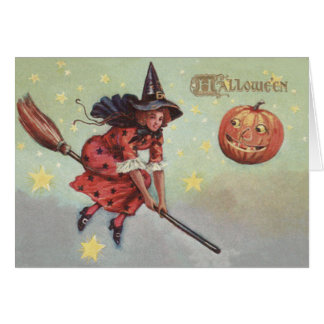 Witch Broom Jack O Lantern Flying Stars Greeting Card