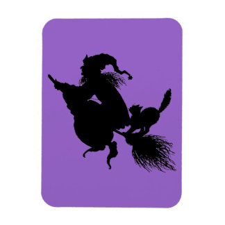 Witch Broomstick and Cat on Purple Magnet