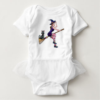 Witch Cartoon Character Flying On Broomstick Baby Bodysuit