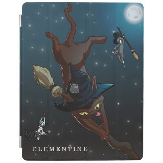 Witch Cat Apprentices Cartoon Illustration iPad Cover