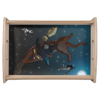 Witch Cat Apprentices Cartoon Illustration Serving Tray
