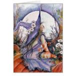 Witch & Cat in a Pumpkin Patch Card Greeting Card