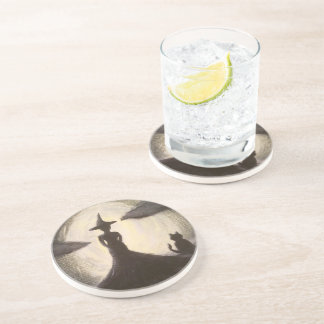 Witch & Cat in Silhouette Coaster