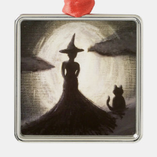 Witch & Cat in Silhouette Ornament