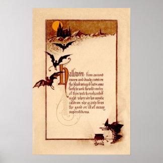 Witch Cauldron Bat Full Moon Posters