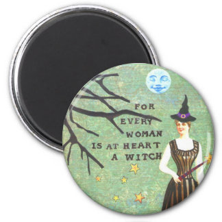 witch collage edit, witch collage edit, skeletons 6 cm round magnet