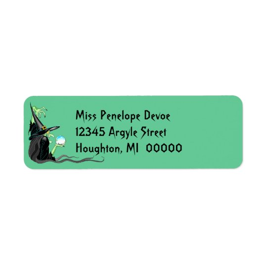 Witch Crystal Ball Halloween Return Address Label