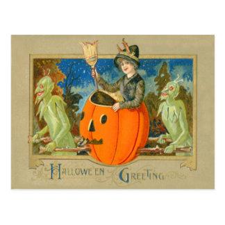 Witch Demon Jack O Lantern Devil Postcard