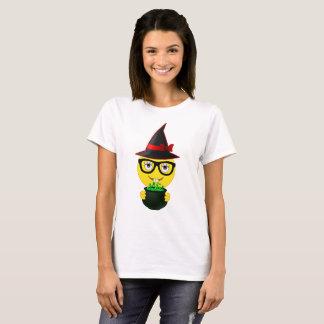 Witch Emoji Holding Cauldron Funny Halloween Shirt