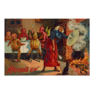 Witch Feeding Devils And Creatures Poster