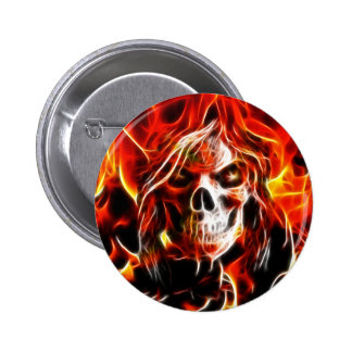 Witch Fiery Skull Button