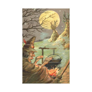 Witch Fire Cauldron Full Moon Night Canvas Print