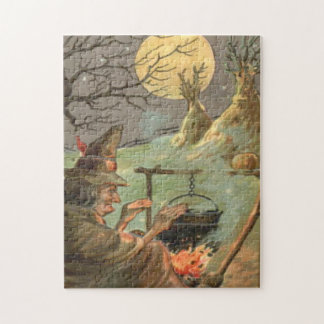 Witch Fire Cauldron Full Moon Night Jigsaw Puzzle