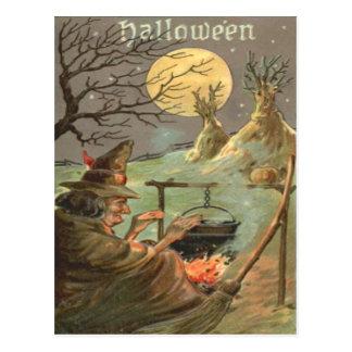 Witch Fire Cauldron Full Moon Night Postcard