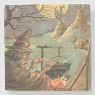 Witch Fire Cauldron Full Moon Night Stone Coaster