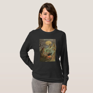 Witch Fire Cauldron Full Moon Night T-Shirt