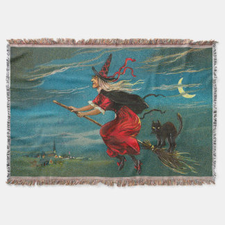 Witch Flying Black Cat Crescent Moon