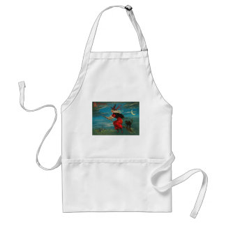 Witch Flying Black Cat Crescent Moon Apron